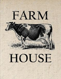 Farm House Cow Digital Collage or Iron on by PetitePaperie on Etsy, $1.50