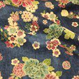 Tissus Japonais vintage fleuri fond bleu marine