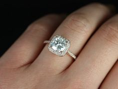 Camila 14kt Rose Gold Thin FB Moissanite Cushion Halo Engagement Ring
