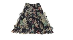 new RALPH LAUREN Petite womens  Soft flowing floral SILK Skirt Size P/S P / S #RalphLauren #FullSkirt