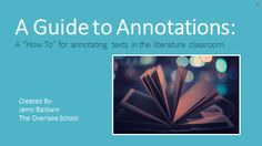 An introduction and tutorial on annotating texts in the literature classroom.  This presentation is meant to introduce annotations to students as well as to serve as a reference for annotations which students can refer back to at any point throughout the course.
