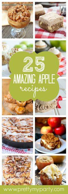 25 Amazing Apple Recipes - Pretty My Party - Party Ideas - Dessert Recipes Apple Desserts, Köstliche Desserts, Sweets Recipes, Fruit Recipes, Apple Recipes, Fall Recipes, Crockpot Recipes, Delicious Desserts, Yummy Food