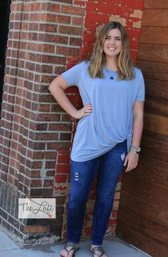 Love this powder blue top...  Shop this look at The Loft in store or online...
