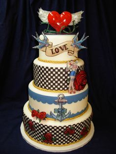 Rockabilly Cake - Rockabilly Cake with blown sugar/isomalt heart topper and pulled wings. Icing Images suspended in isomalt, and pulled and painted roses.
