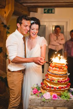Wedding Cake with Sparklers // Rustic Romantic Wedding // One Fab Day