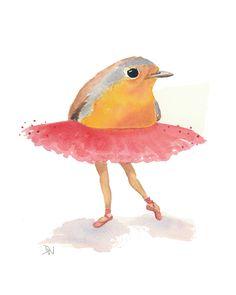 Ballet Bird Watercolor Painting Original Art by WaterInMyPaint