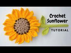 Crochet Sunflower, Sunflower Pattern, Crochet Flowers, Crochet Ripple, Crochet Fall, Free Crochet, Flower Step By Step, Amigurumi Tutorial, Crochet Accessories