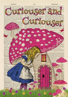 Set of 4 Alice in Wonderland Antique Book page Art Prints A4-Nursery Set 2 Pink | eBay