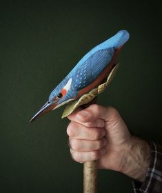 Kingfisher one-piece walking stick carved from hazel