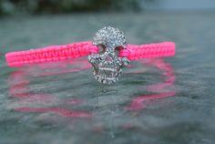 Hot Pink macrame skull bracelet by SilverCandy on Etsy, $30.00