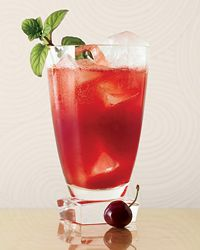 Porch Crawler (In a cocktail shaker, muddle the 5 pitted cherries, mint leaves and chile. Add ice and the rum, lemon juice and Simple Syrup; shake well. Strain into an ice-filled collins glass, stir in the club soda and garnish with a cherry and a mint sprig.)