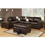 $979.99  Espresso Leather Match Sectional Sofa with Reversible Chaise Ottoman