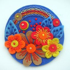 *FELT ART ~ POCKETFUL OF POSIES FELT BROOCH - COBALT by APPLIQUE-designedbyjane, via Flickr ---  LOVE THESE FELT PROJECT IDEAS FOR ORNAMENTS......THEY JUST NEED BEADS!!!!