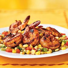 Three-Chile-Dusted Shrimp with Quick Corn Relish | MyRecipes.com