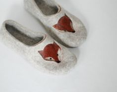 Felted slippers Cat slippers Womens slippers Woman home shoes