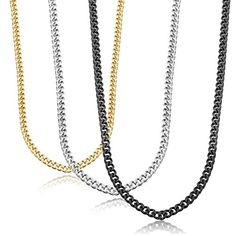 """3.5mm Loveshine Jewelry Mens Stainless Steel Necklace Chain 18-30"""" inches, 3 Pcs 3 Color (24 Inches) loveshine http://www.amazon.com/dp/B01ALH7CVQ/ref=cm_sw_r_pi_dp_4rhRwb0P3DBSP"""
