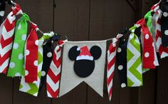Mickey Mouse Banner Bunting Santa Hat by PrettyBoutiqueParty Mickey Mouse Banner, Mickey Mouse Ornaments, Mickey Mouse Decorations, Mickey Mouse First Birthday, Minnie Mouse Christmas, Disney Ornaments, Mickey Y Minnie, Disney Christmas Crafts, Disney Christmas Decorations