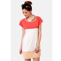 Tri-Color Coral Block Dress