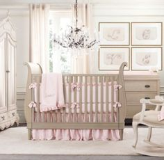 All pink version of Scotti's bedding for this little one...Washed Velvet & Vintage-Washed Italian Sateen Nursery Bedding Collection
