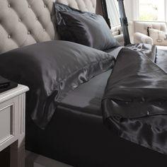 Mulberry Silk Bedding, Black by Jasmine at Dotmaison