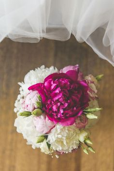 Fuchsia and white peony bouquet…