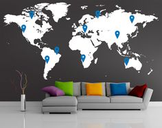 World map wall decal with 10 pins FREE by newpoint on Etsy World Map Wall Decal, Vinyl Wall Decals, Salons Violet, Modern Decor, Modern Art, Litho Print, Black Walls, Wall Treatments, Wall Murals