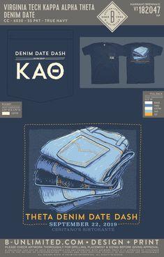 Virginia Tech Kappa Alpha Theta Denim Date Dash Event Shirt | Sorority Event | Greek Event #kappaalphatheta #theta #kao #kat #virginiatech #datedash