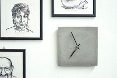 Wall clock made in a single piece of concrete. Square, dark gray concrete. Hand made, it is unique. Works with quartz movement with one AA battery