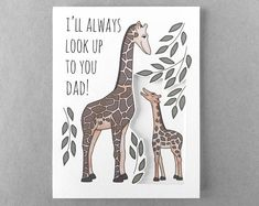 """Ill always look up to you Dad! The perfect sentiment for this Fathers day is paired with a giraffe illustration. This card incorporates a print of one of my drawings and a detailed cutout. These elements create a 3D dynamic effect when the card is opened and viewed from different angles. I personally cut and print each card one at a time in my studio.  ✽ Dimensions: 4 1/4x 5 1/2"""" folded card (A2) ✽ An A2 sized envelope is included.  ✽ 100% post consumer recycled and sustainably manu..."""