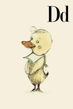 D for Duck Alphabet animal,  Print 4x6 inches