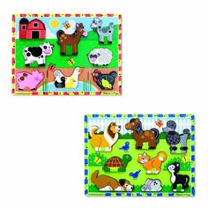 Melissa & Doug Wooden Chunky Puzzles Set - Farm and Pets free shipping #MelissaDoug