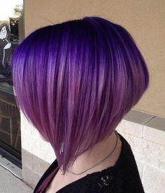 Layered Purple Ombre Bob
