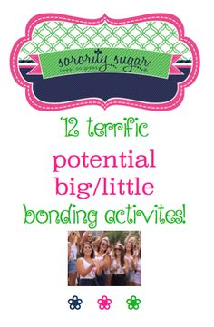 "Potential big/little bonding activites are a terrific idea! Here are some fun things to do together before reveal to help sisters get to know each other better. Also beneficial for ""post reveal"" big/little bonding as well! <3 BLOG LINK: http://sororitysugar.tumblr.com/post/112332064474/potential-big-little-bonding-activities#notes"