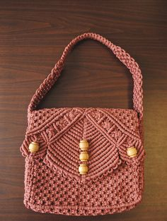 This item is on sale and has been reduced.Vintage Pink Macrame Beaded Purse