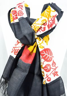 Silk Scarf- Hand painted silk scarf- Black silk scarf- Multicolor - Foliage print- Gift for Her - Gift for women- Birthday gift-Gift for mom by Ornify on Etsy Birthday Gifts For Women, Gifts For Mom, Painted Silk, Hand Painted, Hand Printed Fabric, Black Silk, Outfit Of The Day, Hand Weaving, Scarves