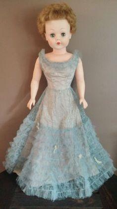 Vintage-50-039-s-Era-Rubber-Doll-High-Heel-Feet-Original-Lace-Dress-Sleepy-Eyes-29-034