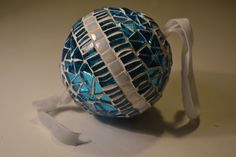 Turquoise and white mosaic christmas ornament by PippesGlasmozaiek, €18.00