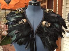 READY TO SHIP  Black skull Feather Shrug cape by SiminsCreations