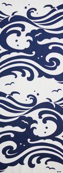 Japanese washcloth, waves pattern Tenugui 手ぬぐい