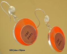 BrRedCDDAgr07 Brinco redondo de prata 950 e resina Disponível em:  http://www.facebook.com/MMJoiaseobjetos
