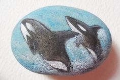 Whales - Hand painted miniature art on English beach stone paperweight.    Measurements included in the photos. I also paint to order, please