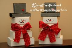 "The snowman blocks are 2-3"", 4"" and 5"". The hat is a scrap that is 4"" and a small piece on top that is 2 1/2"" x 2"". Use some scrap board, pine or poplar would work. Use fabric to tie around his neck and scrapbook paper on the hat. Also add a heart button to the hat and you could add them for buttons down the front."