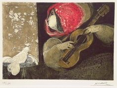 Guitarist by Alvar Sunol Munoz Ramos,color aquatint and etching