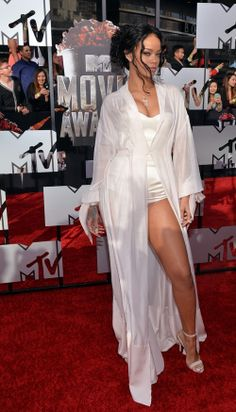 Rihanna stay having fun with fashion -- is this evening wear or lingerie...does it matter? (MTV Movie Awards 2014)