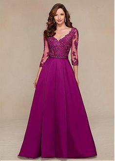 V-neck Andar de comprimento A linha de cetim elegante Mãe dos vestidos de noiva com apliques de renda