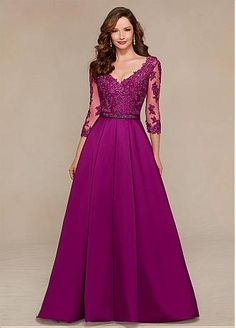 Buy discount Elegant Satin V-neck Floor-length A-line Mother of the Bride Dresses with Lace Appliques at Dressilyme.com