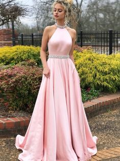 Simple A-line Prom Dresses Pink High Neck Cheap Beading Prom Dress Evening Dress by DRESS, $179.00 USD