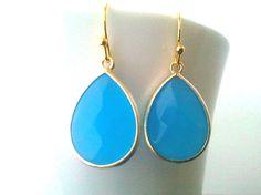 Ocean Blue Synthetic Stone Drop Earrings