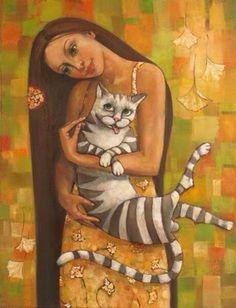 Девушка и Кот Girl and Cat