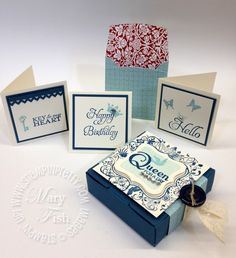 Set of 3 x 3 cards using Elementary Elegance stamp set. Designed by Mary Fish, Independent Stampin' Up! Demonstrator. Details, supply list and more card ideas on http://stampinpretty.com/2012/01/quick-color-block-video-tutorial-2.html